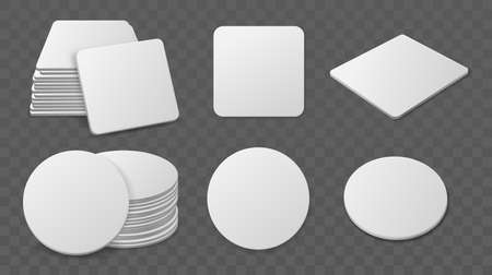 Beer coaster stacks. Realistic paper round and square shapes for glasses drinks, blank cardboard bierdeckel, different angles, single and piles. Blank cardboard drink mats. Vector set 矢量图像