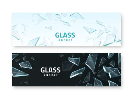 Broken glass banners. Realistic crash fragments, transparent sharp details, different shapes 3D pieces, fractured window pieces. Black and white horizontal background vector set