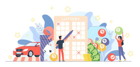 Lottery people. Gambling game. Guessing numbers and random winner selection. Cartoon man fills out ticket. Happy woman pulls out balls. Tiny players win money and car. Vector gamble concept