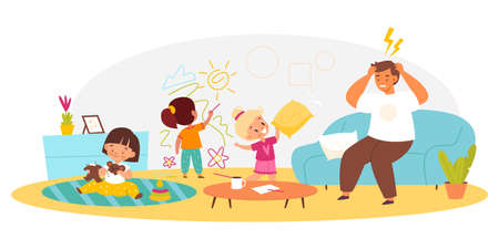 Naughty children with dad. Hyperactive kids make mess in living room, disgruntled father sitting on couch, chaos in living room interior, family relations and communications. Vector concept 矢量图像
