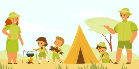 Mentors and scouts. Kids camping tourism. Young explorers pitch tent and cook at campfire. Children in uniform with teachers. Summer outdoor hiking vacation. Vector nature adventurers