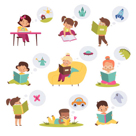 Children reading books and dreaming. Kids imagination, boys and girls read fairy tales in different poses, stories library. Young characters fantasize about dreamlike adventures vector set 矢量图像