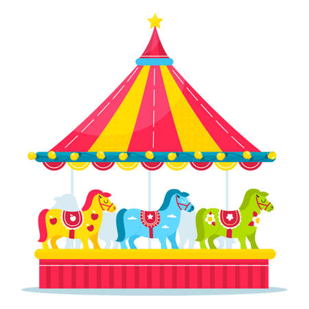 Horses carousel. Kids amusement park roundabout with little ponies different colors and carnival decor. Fair rotating attraction for children leisure. Vector merry-go-round concept 矢量图像