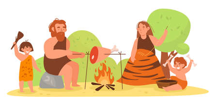 Stone age family. Primitive prehistoric people. Mom, dad and kids cooking or sewing animal skins clothes. Cavemen make household chores by campfire. Vector Paleolithic persons concept