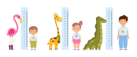 Kid measure height. Different growth and ages children stand near wall-mounted growth meters with funny cute animals decor. Pink flamingo giraffe and dinosaur. Vector cartoon concept 矢量图像