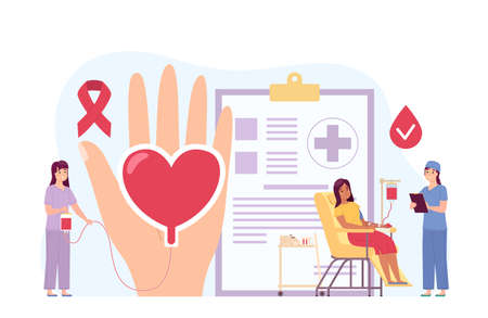Volunteers blood donation. Woman in chair gives bloody serum. People help health care. Plasma donors in process donation. Charity medical support. Hand with red heart. Vector concept 矢量图像