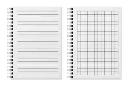 Realistic empty diary. Notebook sheets in lines and in cage, sketchbook for writing or painting. Copybook with spiral binder, organizer with clean sheets office or school stationery vector set