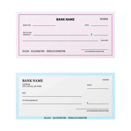 Bank check. Blank cheque checkbook with guilloche pattern and watermark. Unfilled payment paper template. Banking coupon or certificate mockup design for branding. Vector paybills set
