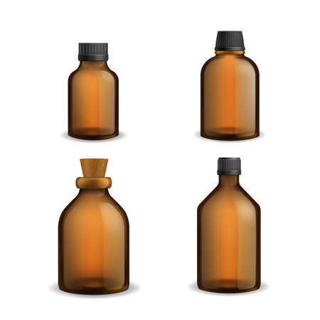 Bottles glass medical. Realistic brown blank transparent packaging with plastic cap, pharmacy syrup bottle 3d. Aromatherapy essential oil and cosmetic flasks different sizes vector set