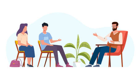 Family therapy. People counseling with psychologist, patient persons in psychotherapist sessions. Men and women talking to doctor about relationships problems, vector isolated illustration 矢量图像