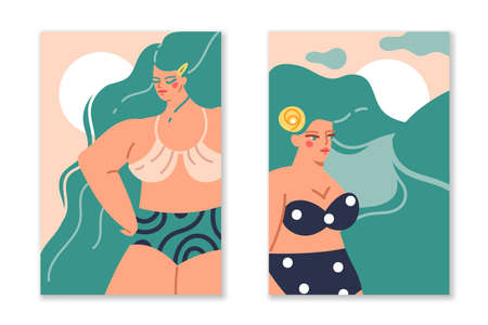 Hair long female. Wavy women hairstyle in nature silhouette, beautiful characters, femmes in swimsuit and bikini. Pretty girl portraits with green bright hair. Vector posters or cards set