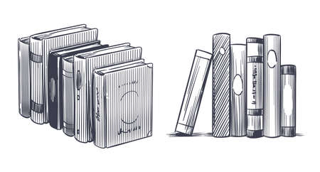 Hand drawn books. Sketch engraving monochrome notebooks. Stack of textbooks, library and bookstore drawing elements, literature publications, reading book, vector isolated sketch style set