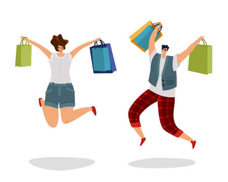 Jumping customers with gift bags. Happy shopping people. Fashion byer boy and girl for sale or discount advertising. Man and woman buying gifts and presents. Vector cartoon isolated set
