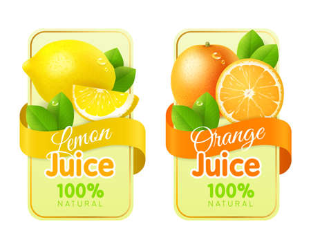Labels fruit realistic. Packaging stickers with fresh realistic fruits, juices and jam emblems. Organic lemon and orange, citrus flavors natural products, beverage package template vector set