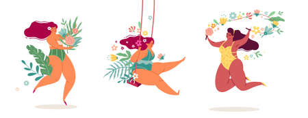 Ladies body positive. Women in flowers beautiful tropical leaves and plants, happy girls in bikinis, spring-summer seasons. Female beauty jumping, sexy overweight character vector set 矢量图像