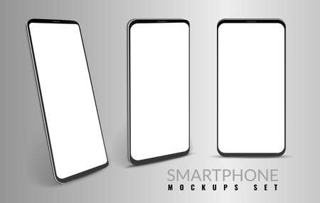 Realistic smartphone mockup. Mobiles in different view angles. Modern 3d cell phones template with blank screen. Digital communication devices set for branding. Vector advertising banner