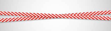 Warning red ribbons. Dangerous crossing stripes. Realistic attention adhesive tapes. Caution obstruction. Horizontal security barricade template. Police boundary. Vector illustration
