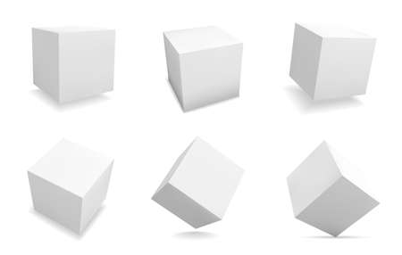 White 3D cubes. Realistic square shapes. Isolated abstract geometric blank figures set with shadow. View from different sides on box packaging template. Vector cubic forms collection