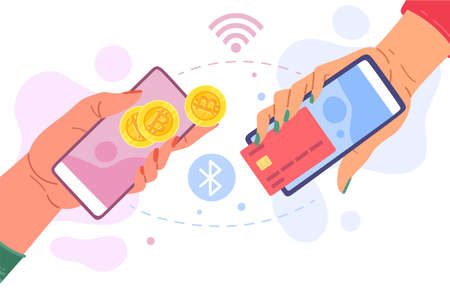 Buying or selling bitcoins. Hands with smartphones exchange cryptocurrency for money. Financial transaction of BTC coins to banking credit card. Mobile crypto commerce. Vector concept