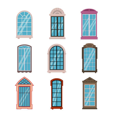 Windows frames flat. Colorful various wooden and plastic window frame with window sills, exterior architectural house wall element. Building modern and classic exterior vector isolated set 矢量图像