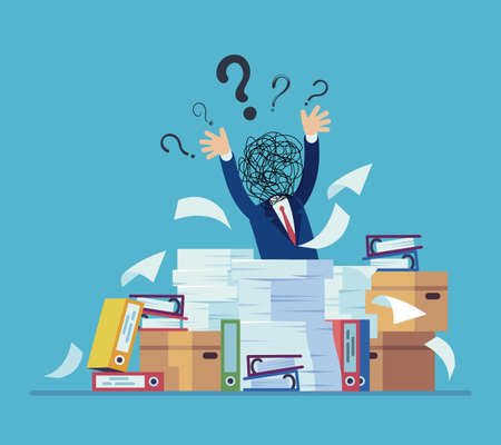 Confusion and mess. Stressed man working in office. Workplace with papers or folders. Tired confused worker sits at table. Tangled cords head and question signs. Vector illustration