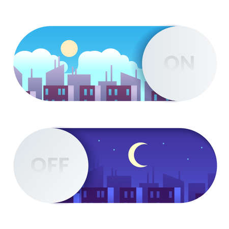 Day and night switch. Control screen lighting. Turn on or off buttons with cartoon daytime and nighttime cityscape. Morning or evening time display toggles template. Vector concept