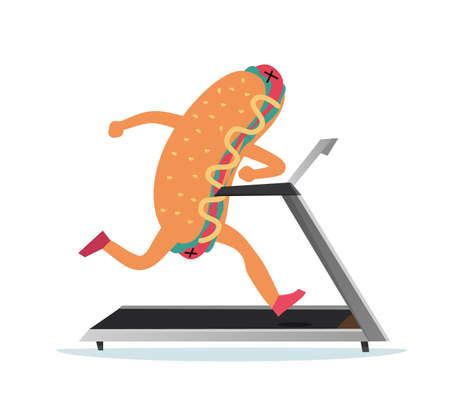 Hot dog is running. Weight loss concept. Cartoon food mascot exercising on treadmill. Fat meal training in gym for slimming. Workout cute character. Vector healthy sport activities 矢量图像