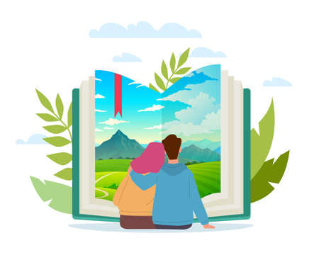 Joint book trip. Cartoon couple reading together. Scenic landscape at paper pages. Man and woman sit hugging and enjoy of literature. Fictional adventure in nature. Vector readers concept