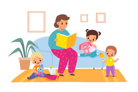 Reading books. Woman reads fairy tales to children, living room interior, boys and girls in kindergarten, kids getting knowledge, entertainment literature. Vector cartoon isolated concept