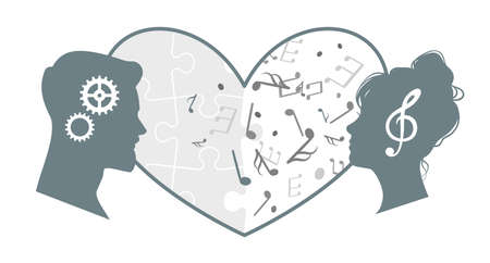 Love of different minds. Couple harmony relationship. Differences in interests of partners. Heads with gears or music notes. Creative and rational brains interaction. Vector illustration 矢量图像