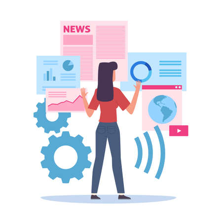 Selection of Internet resources. Woman choosing websites. Cartoon female searching web pages. Cute girl looking global news services and graphic analytic information. Vector concept