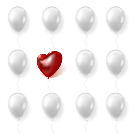 The ball of love. Realistic white round or red heart shaped balloons. Inflated toys collection. Romantic symbol. Valentine holiday spheres. Wedding celebration elements. Vector concept 矢量图像
