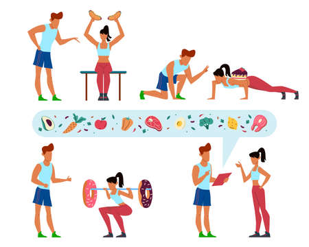Working off kilocalories. Diet instructions. People training in gym. Trainer teaches woman to workout. Fast food and sweets. Coach talking with sportsmen about meal. Vector concept