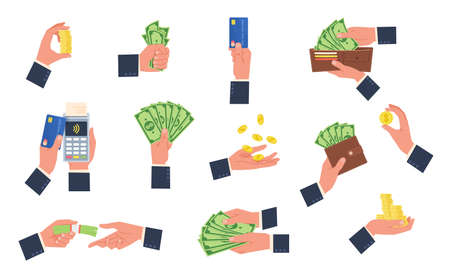 Businessman hands hold money. Human arms interacting with cash and bank cards. Wallets, stacks and bundles dollars. Persons paying or counting banknotes. Man tossing coins, vector set 矢量图像