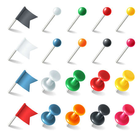 Pins tacks flags. Pointer colored marker pin flag, 3D thumbtacks tacks for attaching notes, plastic buttons with needles. Pushpins map markers, office stationery. Vector realistic isolated set
