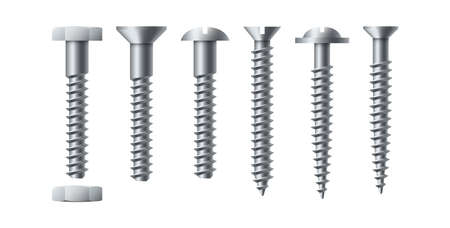 Bolt and screw. Realistic self-tapping. Metal nails with nut. Workshop assortment. Round or hexagon fastener caps. Isolated industrial construction hardware. Vector repair tools set 矢量图像