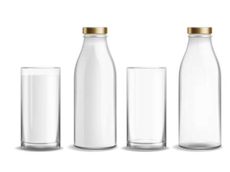 Bottle and glass milk. Milky realistic bottles glasses empty and full dairy beverage product. Cup with yogurt or kefir morning dairy beverage organic product, kids nutrition, vector isolated set