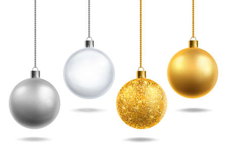 Christmas tree toys realistic. Transparent glass, silver and golden with glitter balls hang. Round xmas decor objects. Christmas decoration. Horizontal new year poster, vector 3d isolated set