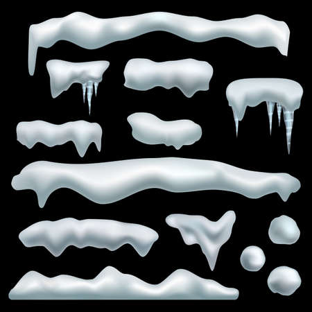 Ice cap. Snow caps with shadow, snowdrifts, snowballs and icicles, frozen roof effect. Winter season christmas and new year realistic 3d isolated on black background decor vector set 矢量图像