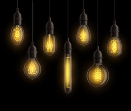 Light bulbs realistic. Vintage edison bright yellow glowing lamps hanging. Retro light bulb different forms isolated on black background. Interior elements. Creative idea symbols vector set