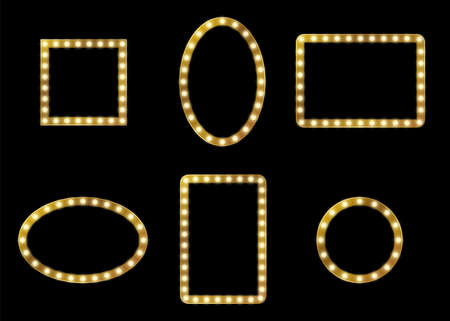 Make-up mirror frame. Lighting lamp frames different forms. Empty square rectangle and round fashion decor, glamour signboard with lamps, theater dressing room element. Vector isolated set