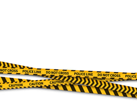 Police line. Warning danger yellow police security tape, taped with prohibited line, safe warning crime, realistic bright attention stripes, horizontal background, vector isolated illustration 矢量图像