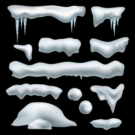 Snow realistic caps. Snowdrifts, snowballs and snowcaps borders with icicles. Xmas frozen icy roof. Snow winter elements, new year and christmas decor. Vector 3d isolated set 矢量图像