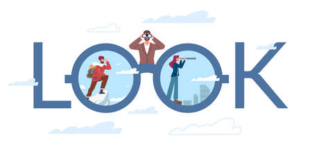 Look at world. Travel and world exploration poster. Man and woman looking through binoculars at city or nature. Lettering design. People admire landscape with telescope. Vector concept