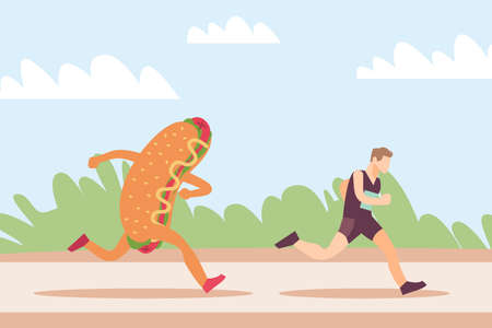 Running away from junk food. Hot dog mascot stalking sportsman. Athletic man jogging for slimming. Weight loss training. Unhealthy meal chasing to runner. Outdoor workout. Vector concept