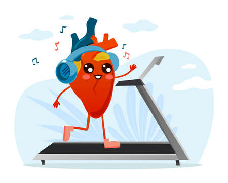 Useful healthy training for heart. Body organ runs on treadmill and listens to music on headphones. Cartoon character sport workout. Prevention cardiovascular diseases. Vector concept