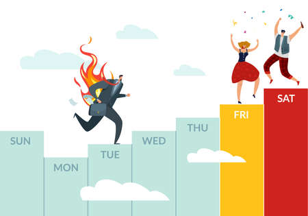 Working week and weekend plans. Calendar weekly chart with business occupation and holiday recreation. Running burnout worker and dancing people. Scheduling job and rest. Vector concept 矢量图像