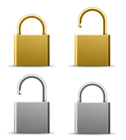 Realistic padlocks. Gold and silver lock in open and closed state. Metal latches blank templates. House and property safety. Vector metallic square blocking protection mechanisms set