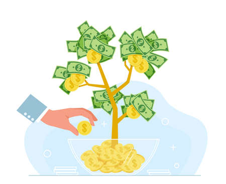 Business hands money. Growing tree and hand with golden flowers coins and dollar cash, successful investment and cash profit, multiplication strategy, wealth and success, vector concept