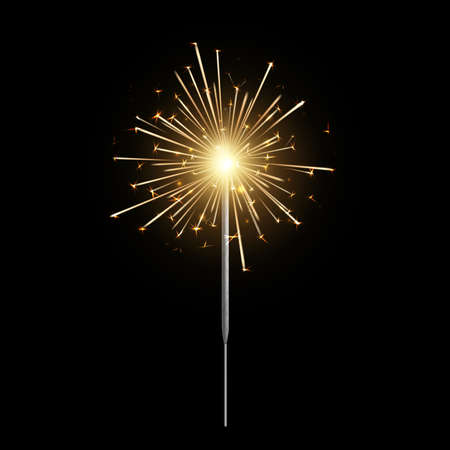 Burning sparkler. Bengal light realistic, christmas, new year and happy birthday sparkling candle, pyrotechnics for party. Firework isolated on black background. Vector 3d illustration